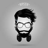 Hipster headphone symbol. Hipster man face with headphone symbol on gray background Royalty Free Stock Photography