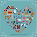 Hipster heart concept Stock Images