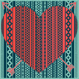 Hipster heart with patterns. Convex red heart with patterns stock illustration