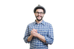 Hipster in Hoed Stock Foto's
