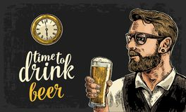 Hipster holding glass of beer and antique pocket watch. Vintage vector engraving illustration for web, poster, invitation to party. Time to Drink lettering vector illustration