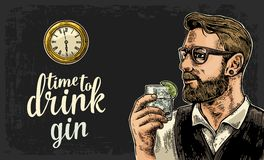 Hipster holding a glass of gin and antique pocket watch. Vintage  engraving illustration for web, poster, invitation to party. Time to Drink lettering Stock Images