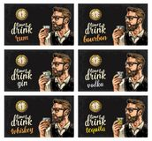 Hipster holding a glasses alcohol drinks and antique pocket watch. Hipster holding a glasses with alcohol drinks and antique pocket watch. Vintage vector stock illustration