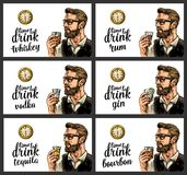Hipster holding a glasses alcohol drinks and antique pocket watch. Hipster holding a glasses with alcohol drinks and antique pocket watch. Vintage engraving royalty free illustration