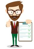 Hipster Holding a Paper With Green Flags, Vector Royalty Free Stock Image