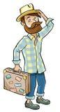 Hipster i en hatt och en resväska royaltyfri illustrationer