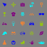 Hipster icons fluorescent color on gray background Stock Images