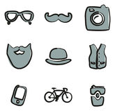 Hipster Icons Freehand 2 Color Royalty Free Stock Images