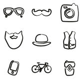 Hipster Icons Freehand Stock Photo