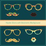 Hipster Icons with Geometric Grunge Background. Set Stock Photography