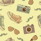 Hipster icons seamless pattern Stock Photo