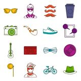Hipster icons doodle set Royalty Free Stock Photos