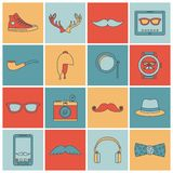 Hipster icons set flat line. Hipster geek urban fashion elements and accessories flat line icons set isolated vector illustration Stock Illustration