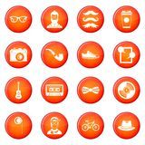 Hipster icons vector set Stock Photos