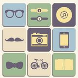 Hipster iconset. Flat hipster iconset for web or mobile app design vector illustration Royalty Free Stock Photos