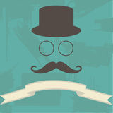 Hipster Illustration on Abstract Background. Hipster Hat Glasses and Mustache  on Abstract Background Royalty Free Stock Photography