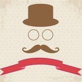 Hipster Illustration on Dot Vintage Background. Hipster Hat Glasses and Mustache  on Dot Vintage Background Royalty Free Stock Photos