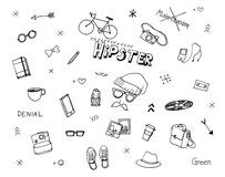 Hipster illustration hand drawn elements Royalty Free Stock Images