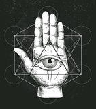 Hipster illustration with sacred geometry, hand, and all seeing eye symbol inside triangle pyramid. Masonic symbol.
