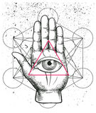 Hipster illustration with sacred geometry, hand, and all seeing eye symbol nside triangle pyramid. Eye of Providence. Masonic symb Royalty Free Stock Image