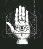 Hipster illustration with sacred geometry. Hand, and all seeing eye symbol nside triangle pyramid. Masonic symbol. Stylish vintage background. Grunge Esoteric Stock Image