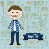 Hipster illustration Stock Images