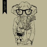 Hipster indian elephant illustration. Hand drawn vector. Stock Photography