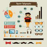 Hipster infographics elements set with geek boy Stock Photography