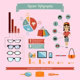Hipster infographics elements set with geek girl Stock Image