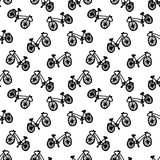 Hipster ink seamless pattern with bicycles. Vintage and retro style. Stock Photo