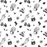 Hipster ink seamless pattern. With different things and people heads. Vintage and retro style. Stock Photo