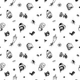 Hipster ink seamless pattern. With different things and people heads. Vintage and retro style. Stock Photos