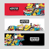 Hipster 3 interactive horizontal banners set Stock Photo