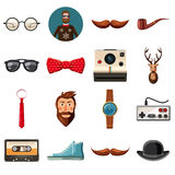 Hipster items icons set, cartoon style Stock Photo