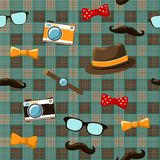 Hipster items on seamless tablecloth Stock Images