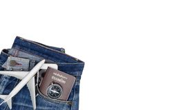 Hipster Jean pant with travel objects on white wood. En copy space Stock Photo