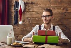 Hipster jonge Santa Claus stock afbeelding