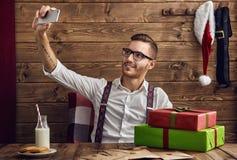 Hipster jonge Santa Claus stock fotografie