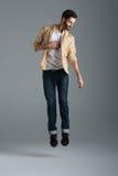Hipster jumping man Stock Photo