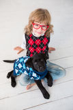 Hipster kid and dog Stock Photography