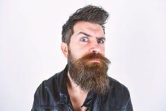 Hipster kijkt verrast en verdacht terwijl het opheffen van zijn wenkbrauw Mannelijkheidconcept Mens met baard en snor  royalty-vrije stock foto's
