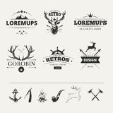 Hipster labels set with deer and antlers. Vintage animal label. Vector illustration Royalty Free Stock Images