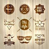 Hipster Labels Wooden Stock Photos