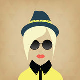 Hipster lady. Accessories hat, sunglasses,  collar. Royalty Free Stock Images