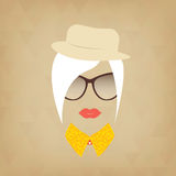 Hipster lady. Accessories hat, sunglasses, collar. Stock Images