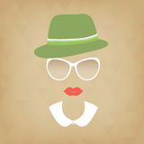 Hipster lady with a hat and collar Stock Photography