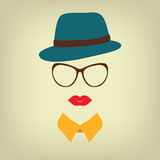 Hipster lady with a hat Royalty Free Stock Image