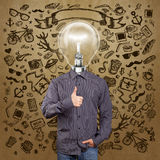 Hipster Lamp Head Man Shows Well Done Royalty Free Stock Image