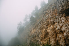 Hipster landscape, mountains in low lying clouds or fog, mist, haze, yellow rocks with trees in foggy morning Royalty Free Stock Image