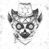 Hipster animal lemur. Hand drawing Muzzle of animal lemur. Hipster lemur. Hand drawing Muzzle of animal lemur royalty free illustration